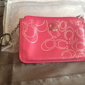 Pink coach card wallet used condition.